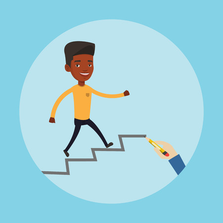 career ladder: An african-american man running up the career ladder drawn by hand with pencil. Happy businessman climbing the career ladder. Concept of business career. Vector flat design illustration. Square layout