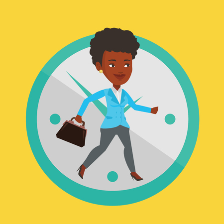 lateness: Busy african-american business woman running on the background with clock. Busy business woman in a hurry. Concept of deadline and busy time. Vector flat design illustration. Square layout.