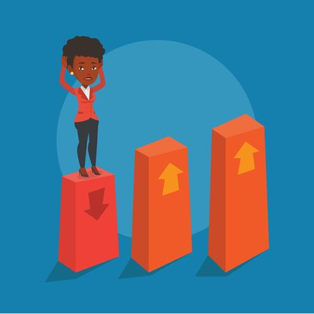 market bottom: An african-american frightened bankrupt business woman clutching her head. Young bankrupt standing on chart going down. Concept of business bankruptcy. Vector flat design illustration. Square layout.