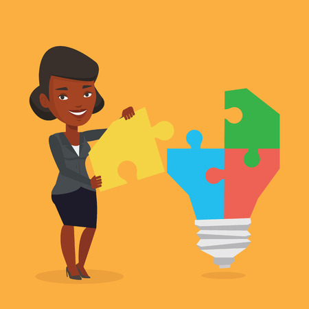 An african-american business woman completing light bulb made of puzzle. Business woman inserts the missing puzzle in light bulb. Business idea concept. Vector flat design illustration. Square layout. Illustration