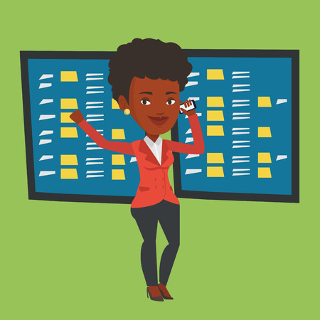 stock quotes: An excited business woman talking on mobile phone on the background of display of stock market quotes. An african-american stockbroker at stock exchange. Vector flat design illustration. Square layout Illustration
