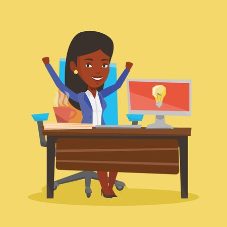 Young business woman working on laptop on a new business idea. An african-american happy woman having a business idea. Successful business idea concept. Vector flat design illustration. Square layout. Ilustracja