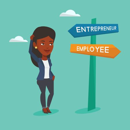 opportunity sign: An african woman standing at road sign with two career ways - entrepreneur and employee. Woman choosing career way. Woman making a decision of career. Vector flat design illustration. Square layout Illustration