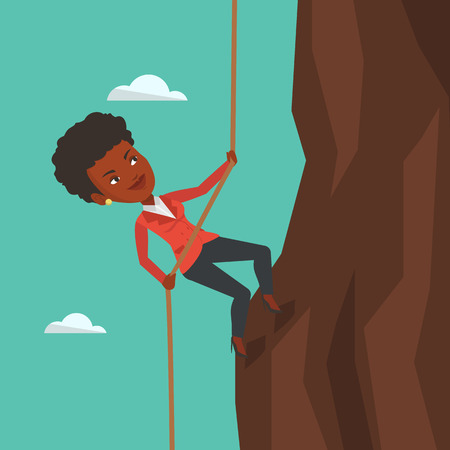 An african-american business woman climbing on the rock. Brave woman in business suit climbing on mountain using rope. Concept of business challenge. Vector flat design illustration. Square layout