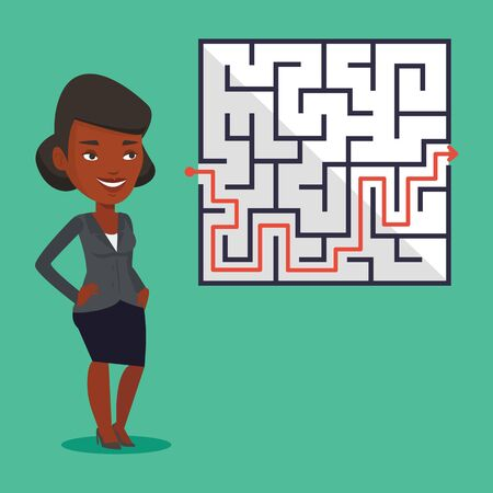 Young business woman looking at labyrinth with solution. An african-american business woman thinking about business solution. Business solution concept. Vector flat design illustration. Square layout. 向量圖像