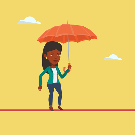 dangerous work: An african risky business woman walking across a high rope with umbrella in hand. Risky business woman balancing on a tightrope. Business risk concept. Vector flat design illustration. Square layout. Illustration