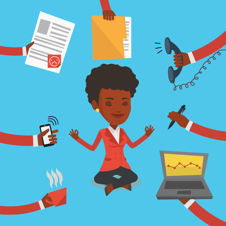 An african-american hard working business woman. Business woman surrounded by many hands that give him a lot of work. Concept of hard working. Vector flat design illustration. Square layout.