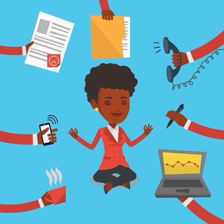 Una mujer de negocios de trabajo duro afroamericana. Mujer de negocios rodeada por muchas manos que le dan mucho trabajo. Concepto de trabajo duro. Vector de diseño plano ilustración. de planta cuadrada.