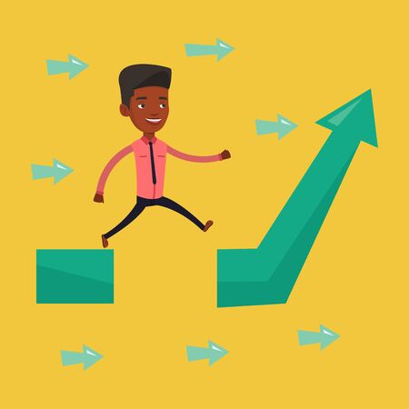 business obstacle: Businessman facing with business obstacle. An african-american business man coping with business obstacle successfully. Business obstacle concept. Vector flat design illustration. Square layout.