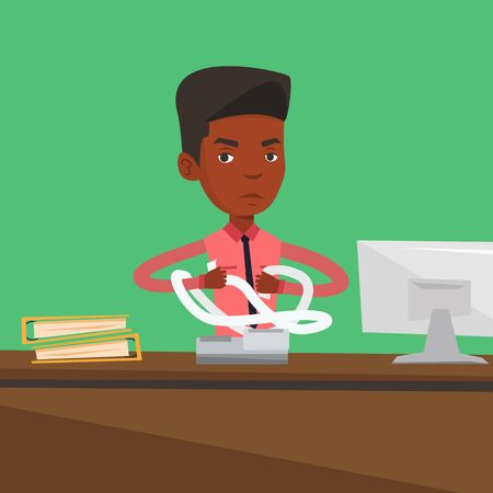 An african-american angry businessman sitting in office and tearing furiously bills. Young angry businessman calculating bills. Vector flat design illustration. Square layout.