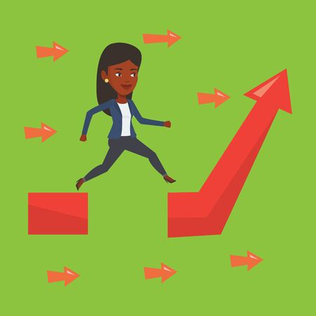 business obstacle: Business woman facing with business obstacle. An african-american business woman coping with business obstacle successfully. Business obstacle concept. Vector flat design illustration. Square layout.