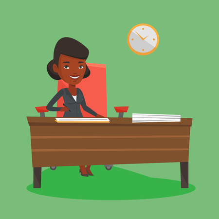 signing contract: An african business woman signing contract in office. Woman is about to sign a business contract. Confirmation of transaction by signing of contract. Vector flat design illustration. Square layout