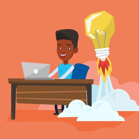 African-american businessman working on laptop in office and idea bulb taking off behind him. Man having business idea. Successful business idea concept. Vector flat design illustration. Square layout Illustration