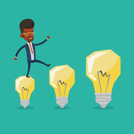 hopping: Smiling businessman in a suit hopping onto idea light bulbs. An african-american cheerful businessman jumping on idea bulbs. Concept of business idea. Vector flat design illustration. Square layout.
