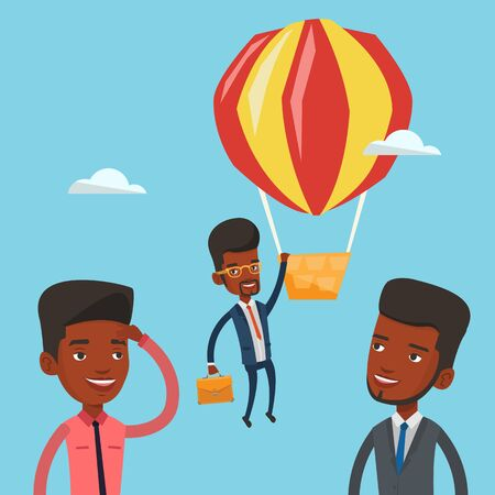 away travel: Two african-american employees looking at their successful colleague. Hardworking employee flying away in balloon from less successful colleagues. Vector flat design illustration. Square layout.