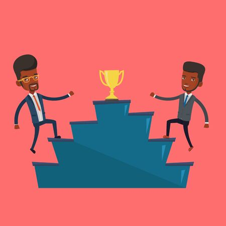 An african-american businessmen competing to get golden trophy. Two competitive businessmen running up for the winner cup. Business competition concept. Vector flat design illustration. Square layout.