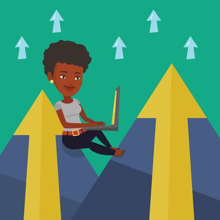 business woman laptop: Young african-american business woman working on laptop on the mountain. Smiling business woman sitting on the top of the mountain and using laptop. Vector flat design illustration. Square layout.