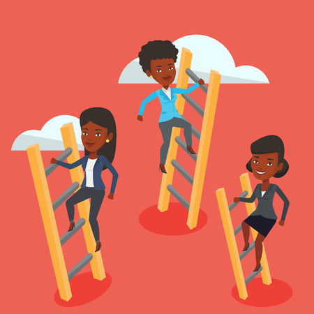 stair climber: An african business women climbing the ladders. Business women climbing on the cloud. Business women climbing to success. Business competition concept. Vector flat design illustration. Square layout. Illustration