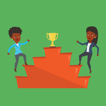An african business women competing to get golden trophy. Two competitive business women running up for the winner cup. Business competition concept. Vector flat design illustration. Square layout. Illustration