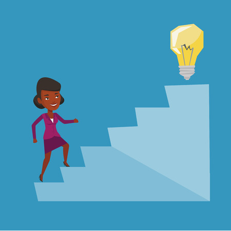 An african business woman walking upstairs to the idea bulb. Business woman running on the stairs to get idea bulb on the top. Business idea concept. Vector flat design illustration. Square layout.