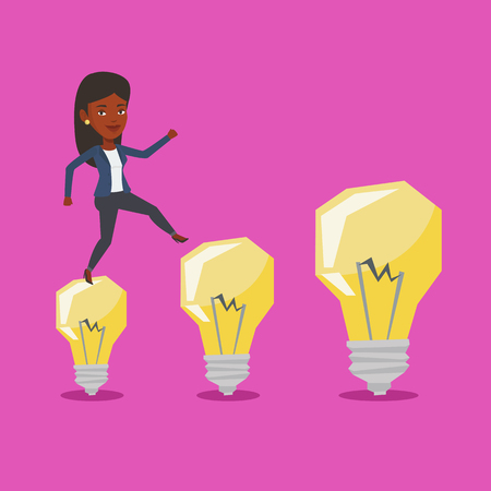 hopping: Business woman in a suit hopping onto idea light bulbs. An african-american cheerful business woman jumping on idea bulbs. Concept of business idea. Vector flat design illustration. Square layout.