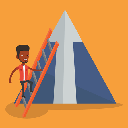 An african businessman climbing the ladder. Businessman climbing on mountain with arrow going up. Businessman climbing upward on the top of mountain. Vector flat design illustration. Square layout.