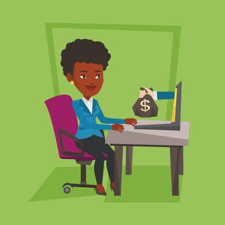 business woman laptop: An african business woman working in office and bag of money coming out of laptop. Woman earning money from online business. Online business concept. Vector flat design illustration. Square layout