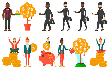 multiplying: Businessman investing in future financial safety. Financier multiplying his profit. Businessman taking care of finances. Man saving finances. Set of vector illustrations isolated on white background.