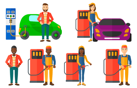 Worker of gas station filling up fuel into the car. Worker in workwear at the gas station. Gas station worker refueling a car. Set of vector flat design illustrations isolated on white background.