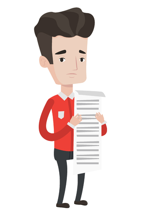 tax accountant: Caucasian businessman standing with a long bill in hands. Disappointed businessman holding long bill. Businessman looking at long bill. Vector flat design illustration isolated on white background.