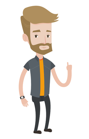 came: Caucasian hipster businessman pointing finger up because he came up with business idea. Man having business idea. Business idea concept. Vector flat design illustration isolated on white background.