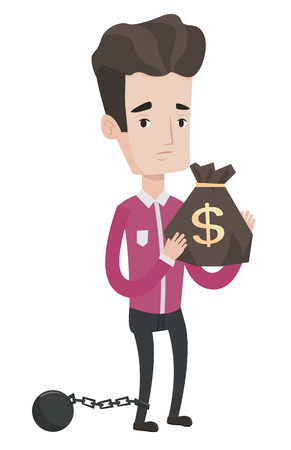 Chained caucasian businessman holding bag full of taxes. Upset taxpayer holding bag with dollar sign. Concept of tax time and taxpayer. Vector flat design illustration isolated on white background.
