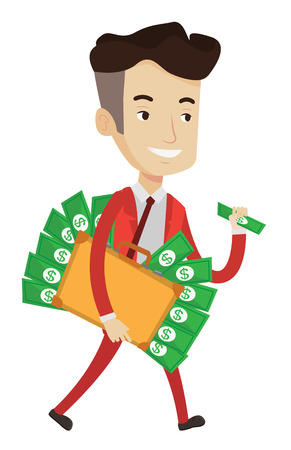 Caucasian happy businessman with briefcase full of money committing economic crime. Businessman stealing money. Economic crime concept. Vector flat design illustration isolated on white background. Illustration
