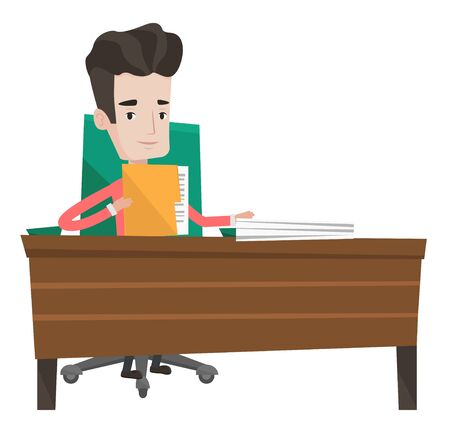 Caucasian office worker working with documents. Office worker sitting at the table with documents. Office worker inspecting documents. Vector flat design illustration isolated on white background. Illusztráció