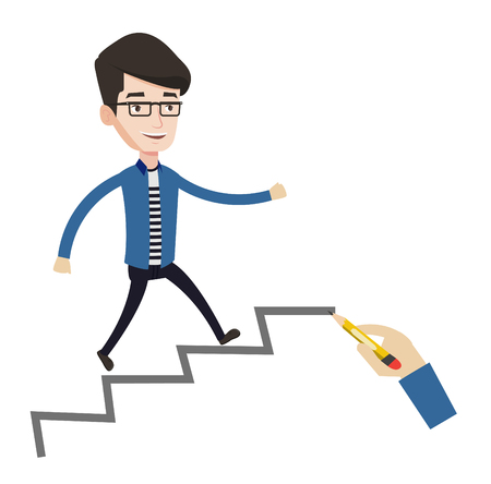 career ladder: Man running up the career ladder drawn by hand with pencil. Happy businessman climbing the career ladder. Concept of business career. Vector flat design illustration isolated on white background.