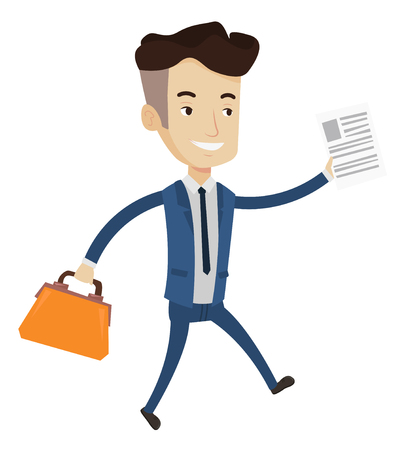 Caucasian businessman with briefcase and a document running. Smiling businessman running in a hurry. Cheerful businessman running forward. Vector flat design illustration isolated on white background. Vektoros illusztráció