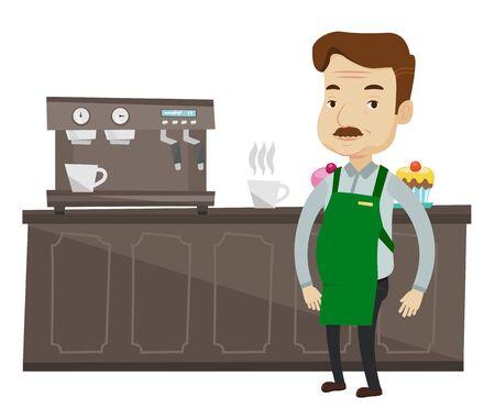 Kaukasische barista schuren in de voorkant van de koffiemachine. Barista bij coffee shop. Barista het maken van een kopje koffie. Vriendelijke barista op het werk. Vector platte ontwerp illustratie op een witte achtergrond. Stock Illustratie