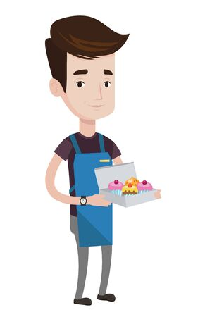 Caucasian friendly delivery man holding a box of cakes. A baker delivering cakes. Young delivery man with cupcakes. Food delivery service. Vector flat design illustration isolated on white background.