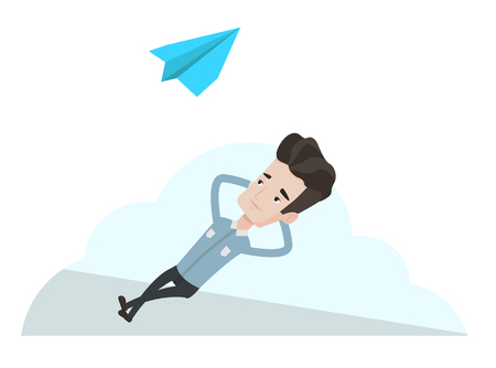 relaxing: Businessman lying on a cloud and looking at flying paper plane. Caucasian businessman relaxing on a cloud. Businessman resting on a cloud. Vector flat design illustration isolated on white background. Illustration