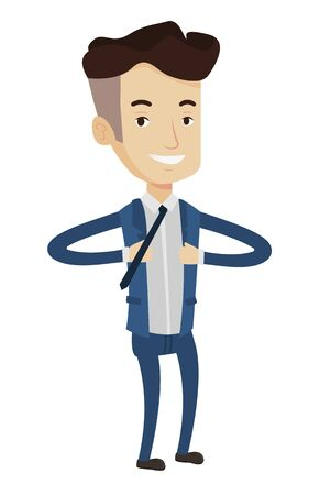 Happy businessman opening his jacket like superhero. Caucasian businessman superhero. Businessman taking off his jacket like superhero. Vector flat design illustration isolated on white background. Illustration