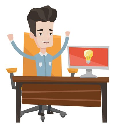 Young businessman working on laptop on a new business idea. Caucasian happy man having a business idea. Successful business idea concept. Vector flat design illustration isolated on white background.