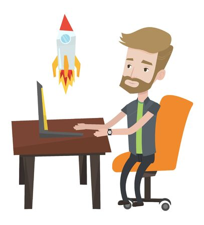 Hipster businessman with beard looking at business start up rocket. Businessman working on business start up. Business start up concept. Vector flat design illustration isolated on white background. 向量圖像