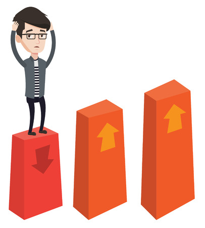 Caucasian frightened bankrupt businessman clutching his head. Young bankrupt standing on chart going down. Concept of business bankruptcy. Vector flat design illustration isolated on white background.