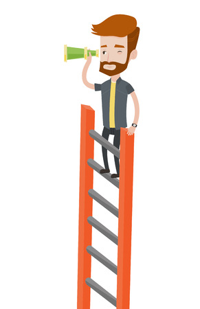 Young businessman searching for opportunities. Businessman using spyglass for searching of opportunities. Business opportunities concept. Vector flat design illustration isolated on white background. Ilustracja