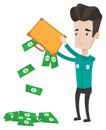emptying: Depressed caucasian bankrupt shaking out money from his briefcase. Despaired bankrupt businessman emptying a briefcase. Bankruptcy concept. Vector flat design illustration isolated on white background