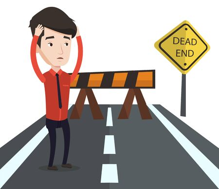 business obstacle: Businessman looking at road sign dead end symbolizing business obstacle. Man facing with business obstacle. Business obstacle concept. Vector flat design illustration isolated on white background.