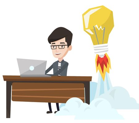 Businessman working on laptop in office and idea bulb taking off behind him. Man having business idea. Successful business idea concept. Vector flat design illustration isolated on white background.