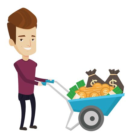 Rich businessman with wheelbarrow full of money. Businessman pushing wheelbarrow full of money. Wealthy businessman transporting money. Vector flat design illustration isolated on white background.
