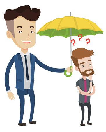 think safety: Businessman holding umbrella over young man. Hipster man standing under umbrella and question marks. Concept of protection and insurance. Vector flat design illustration isolated on white background.