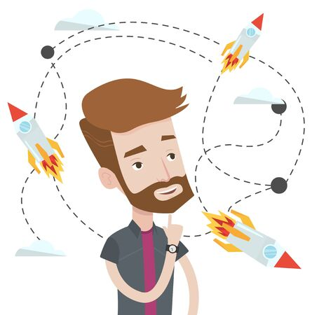 Hipster caucasian man looking at flying business rockets. Young man came up with an idea for a business startup. Business startup concept. Vector flat design illustration isolated on white background.